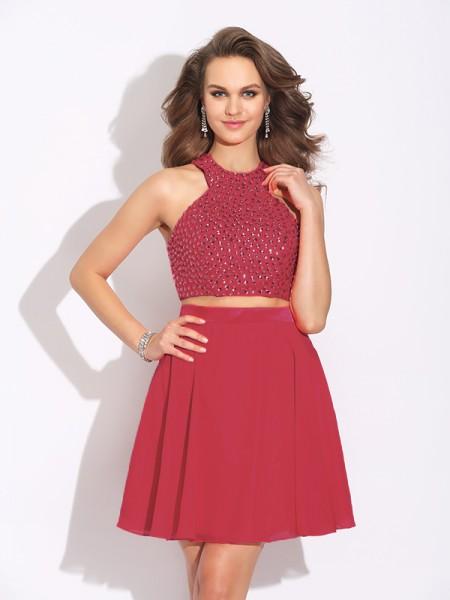 A-Line/Princess Jewel Crystal Sleeveless Short Chiffon Two Piece Dresses