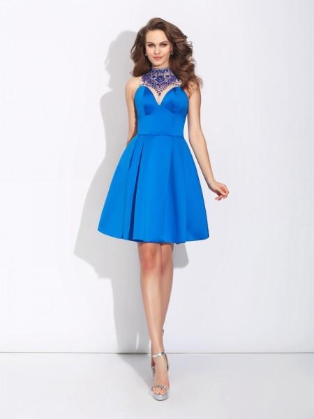A-Line/Princess High Neck Beading Sleeveless Short Satin Dresses