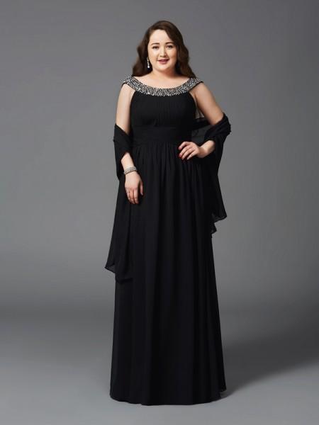 A-Line/Princess Scoop Rhinestone Sleeveless Long Chiffon Plus Size Dresses