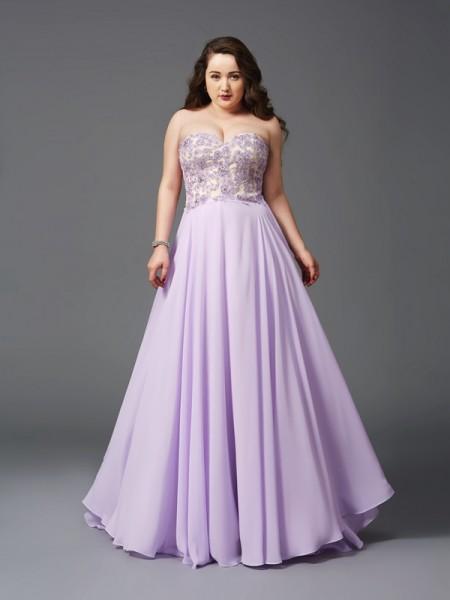 A-Line/Princess Sweetheart Lace Sleeveless Long Chiffon Plus Size Dresses