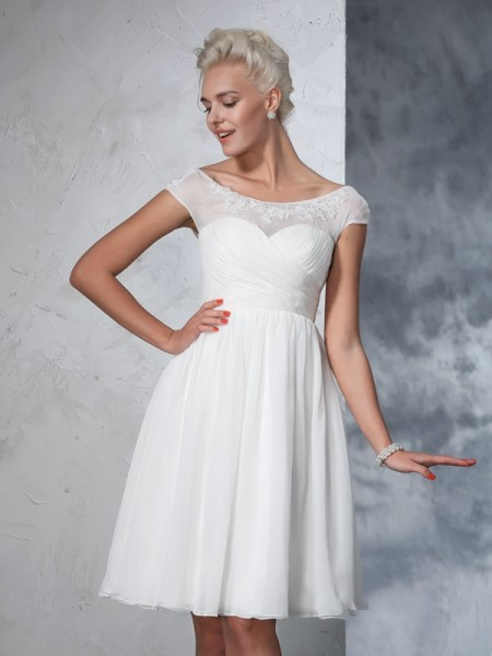 A-Line/Princess Sheer Neck Ruched Short Sleeves Short Chiffon Wedding Dresses