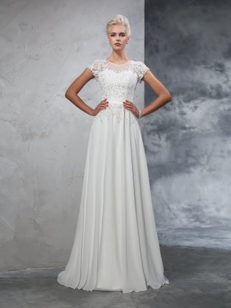 A-Line/Princess Sheer Neck Applique Short Sleeves Long Chiffon Wedding Dresses