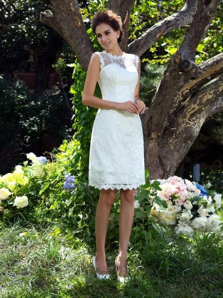 A-Line/Princess Sheer Neck Applique Sleeveless Short Satin Wedding Dresses