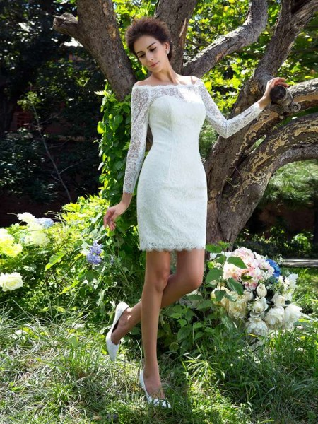 Sheath/Column Scoop Long Sleeves Short Satin Wedding Dresses