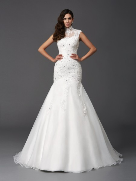 Trumpet/Mermaid High Neck Beading Sleeveless Long Organza Wedding Dresses