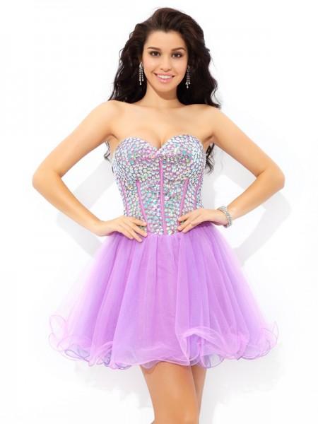 A-Line/Princess Sweetheart Paillette Sleeveless Short Net Cocktail Dresses