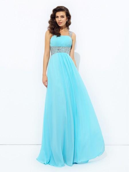 A-line/Princess Straps Sequin Sleeveless Long Chiffon Dresses