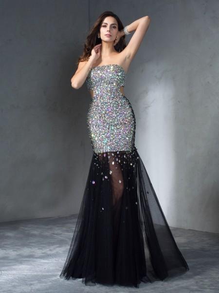 Sheath/Column Strapless Sequin Sleeveless Long Satin Dresses