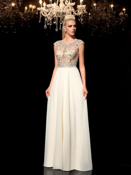 A-Line/Princess Sheer Neck Rhinestone Sleeveless Long Chiffon Dresses