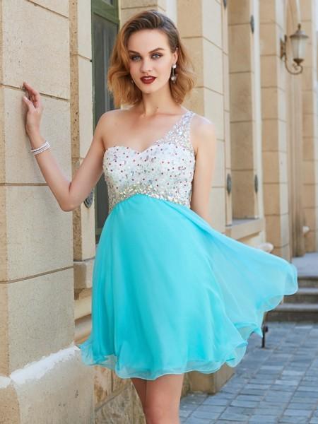 A-line/Princess Sleeveless One-Shoulder Beading Chiffon Short/Mini Dresses