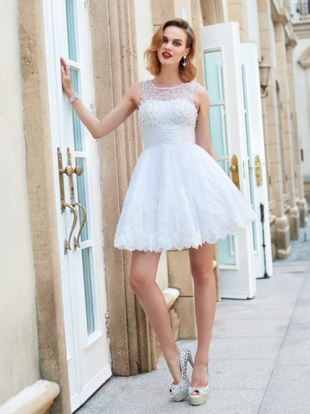 A-Line/Princess Jewel Sleeveless Pearls Short/Mini Lace Dresses