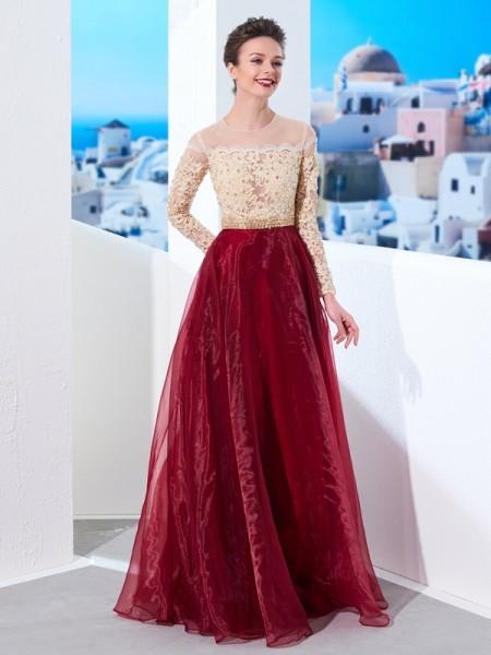 A-Line/Princess Sheer Neck Floor-Length Long Sleeves Applique Organza Dresses