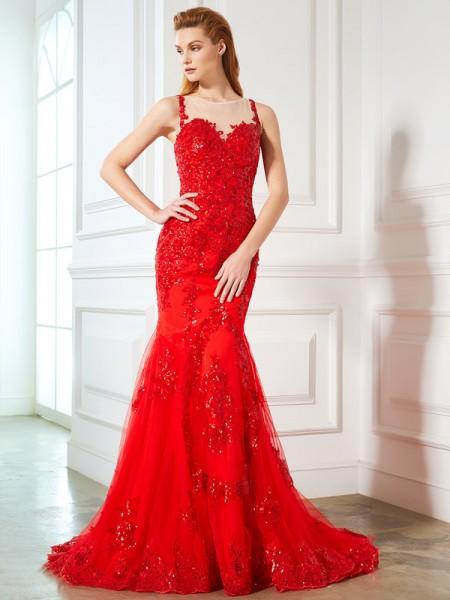 Trumpet/Mermaid Sheer Neck Sleeveless Sweep/Brush Train Applique Tulle Dresses