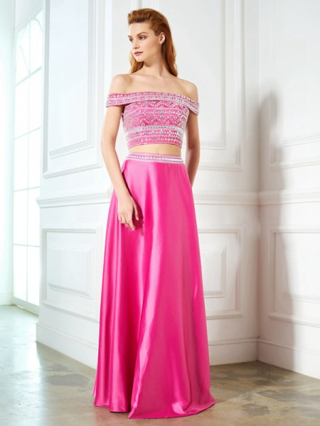 A-Line/Princess Off-the-Shoulder Beading Sleeveless Satin Floor-Length Two Piece Dresses