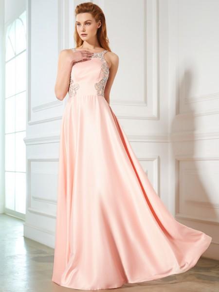 A-Line/Princess Scoop Beading Sleeveless Satin Floor-Length Dresses