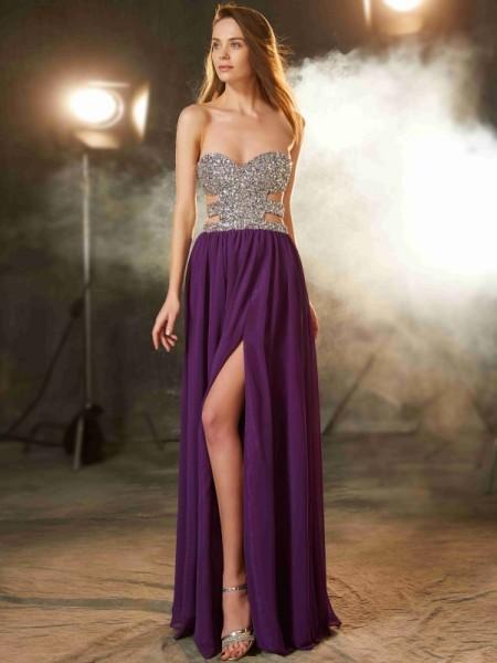 A-Line/Princess Sweetheart Crystal Sleeveless Floor-Length Chiffon Dresses