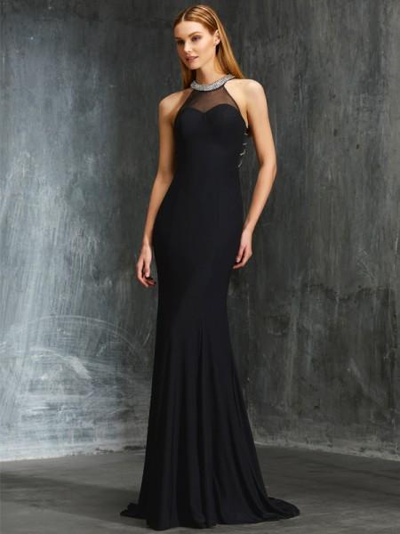 Sheath/Column Jewel Beading Sleeveless Spandex Sweep/Brush Train Dresses