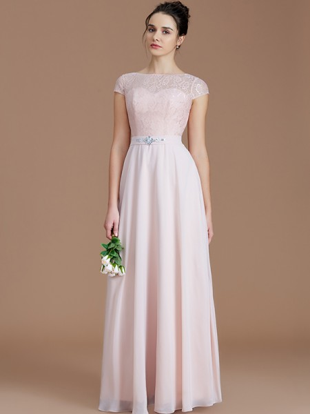A Line Princess Bateau Sleeveless Lace Floor Length Chiffon Bridesmaid Dresses