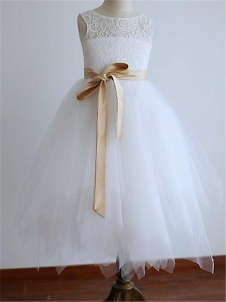 A-line/Princess Scoop Sleeveless Sash/Ribbon/Belt Floor-Length Tulle Flower Girl Dresses