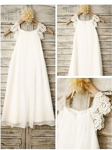 A-line/Princess Scoop Sleeveless Lace Floor-Length Chiffon Flower Girl Dresses
