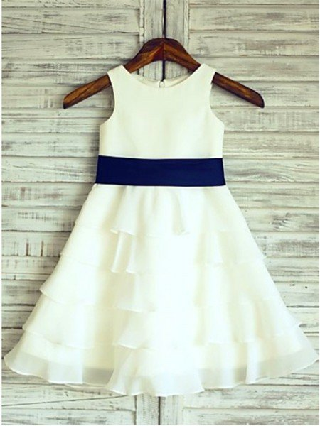 A-line/Princess Sleeveless Scoop Ruffles Floor-Length Chiffon Flower Girl Dresses