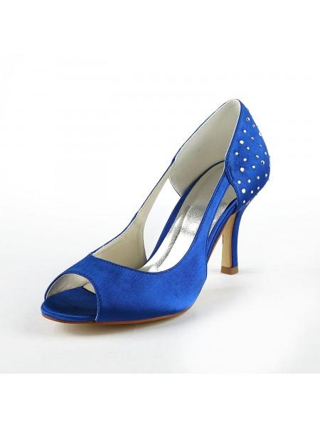 Women's Gorgeous Satin Stiletto Heel Peep Toe With Rhinestone High Heels