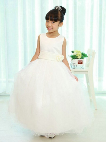 A-line/Princess Scoop Sleeveless Sash/Ribbon/Belt Long Organza Flower Girl Dresses