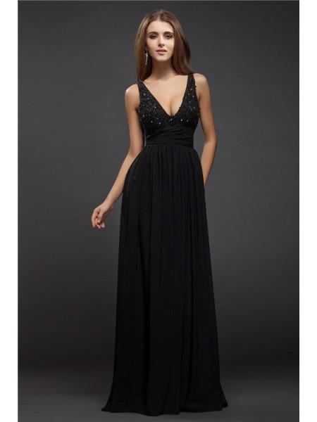 Sheath/Column V-neck Sleeveless Beading Lace Long Chiffon Dresses
