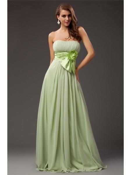 Sheath/Column Strapless Sleeveless Ruffles Long Chiffon Elastic Woven Satin Bridesmaid Dresses