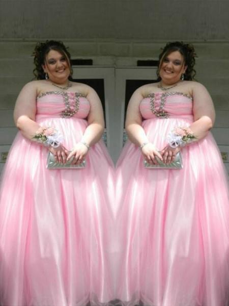 A-Line/Princess Strapless Sleeveless Beading Floor-Length Satin Plus Size Dresses
