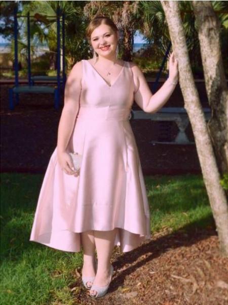 A-Line/Princess V-neck Sleeveless Ruched Asymmetrical Satin Plus Size Dresses