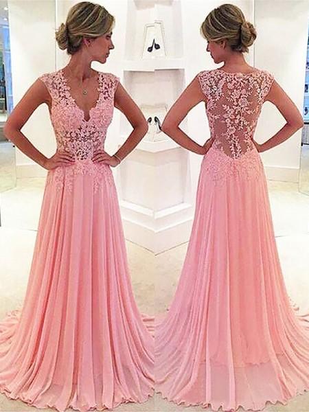 A-Line/Princess Sleeveless Chiffon Lace V-neck Sweep/Brush Train Dresses