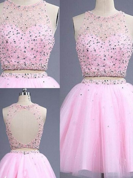 A-Line/Princess Sleeveless Scoop Short/Mini Beading Tulle Two Piece Dresses