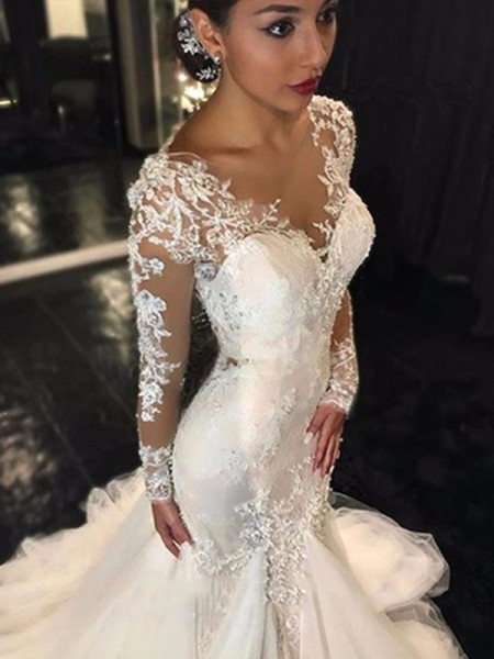 Trumpet Mermaid V Neck Long Sleeves Lace Court Train Tulle Wedding Dresses