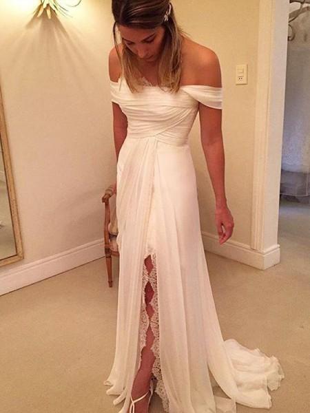 A-Line/Princess Sweep/Brush Train Off-the-Shoulder Sleeveless Ruffles Chiffon Wedding Dresses