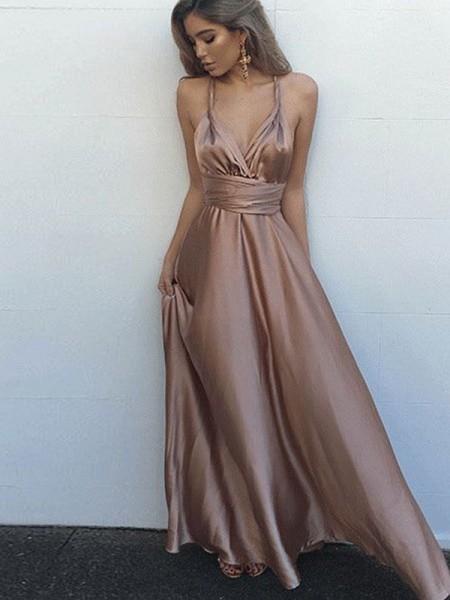 A-Line/Princess Sleeveless Spaghetti Straps Satin Floor-Length Sash/Ribbon/Belt Dresses