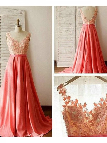 A-Line/Princess Sleeveless Sweetheart Floor-Length Lace Chiffon Bridesmaid Dresses