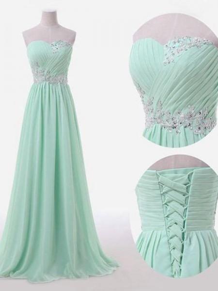 A-Line/Princess Sleeveless Sweetheart Floor-Length Beading Chiffon Bridesmaid Dresses