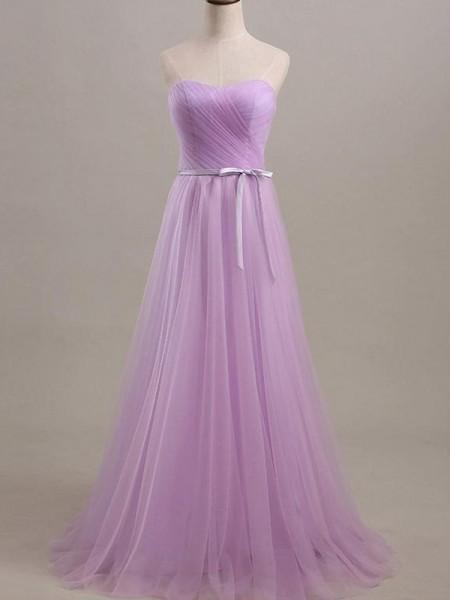 A-Line/Princess Sleeveless Sweetheart Floor-Length Sash/Ribbon/Belt Tulle Bridesmaid Dresses
