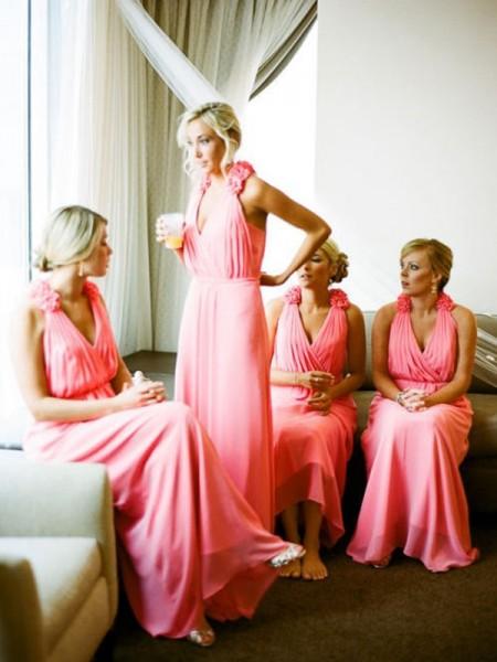 A-Line/Princess V-neck Sleeveless Floor-Length Hand-Made Flower Chiffon Bridesmaid Dresses