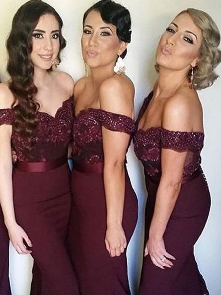 Sheath/Column Off-the-Shoulder Floor-Length Sleeveless Lace Satin Bridesmaid Dresses
