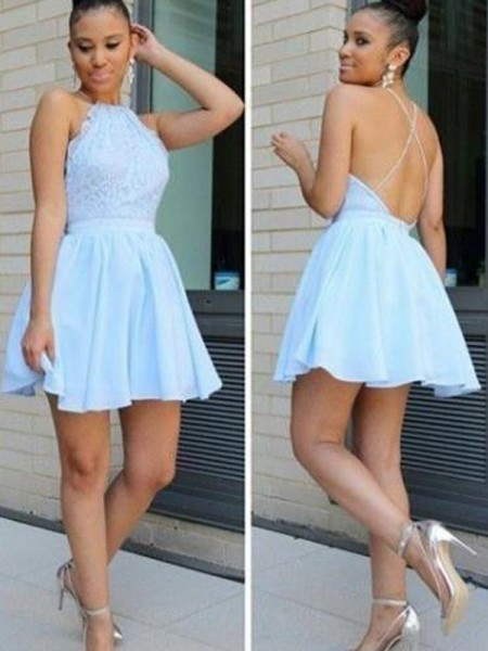 A-Line/Princess Halter Sleeveless Lace Short/Mini Chiffon Dresses