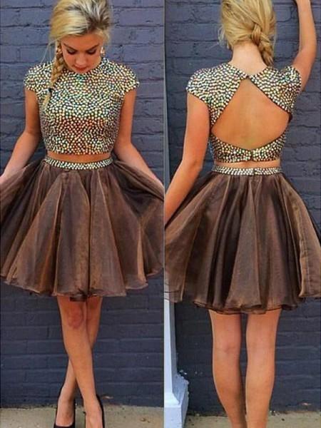 A-Line/Princess Sleeveless Scoop Beading Short/Mini Organza Two Piece Dresses