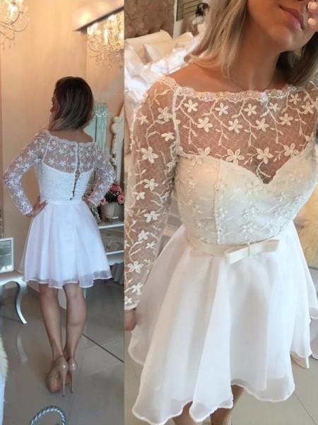 A-Line/Princess Long Sleeves Bateau Sash/Ribbon/Belt Chiffon Short/Mini Dresses