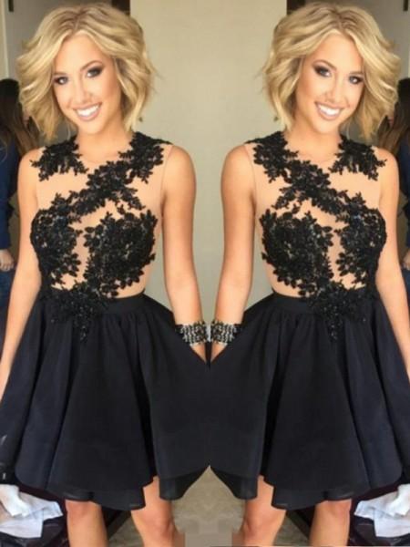 A-Line/Princess Sleeveless Scoop Lace Chiffon Short/Mini Dresses