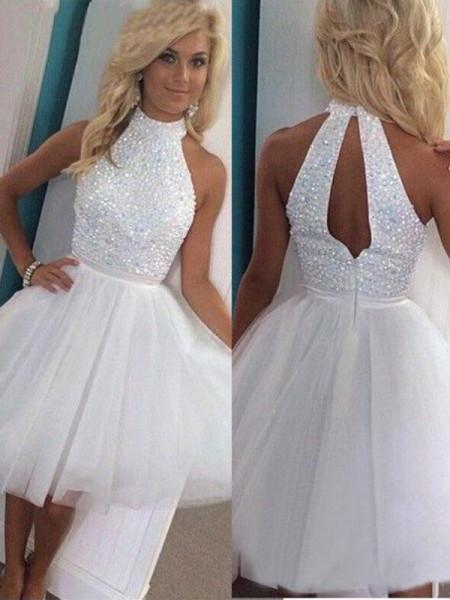 A-Line/Princess Sleeveless Halter Beading Tulle Short/Mini Dresses