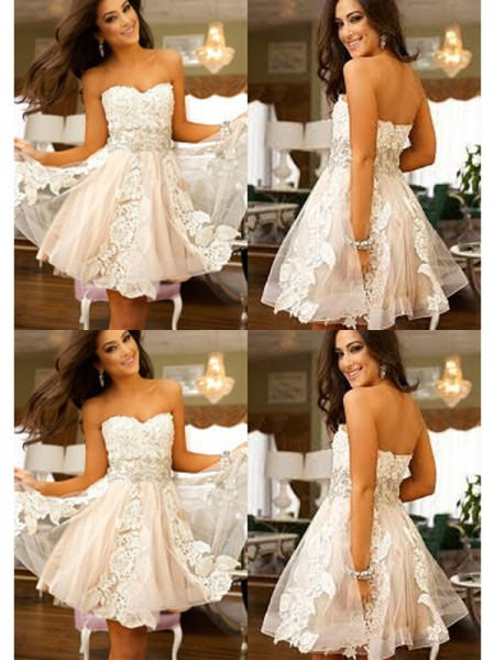 A-Line/Princess Sleeveless Sweetheart Applique Tulle Short/Mini Dresses