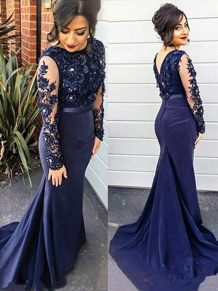 Trumpet/Mermaid Lace Silk like Satin Scoop Sweep/Brush Train Long Sleeves Plus Size Dresses