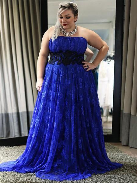 A-Line/Princess Sleeveless Strapless Lace Applique Floor-Length Plus Size Dresses