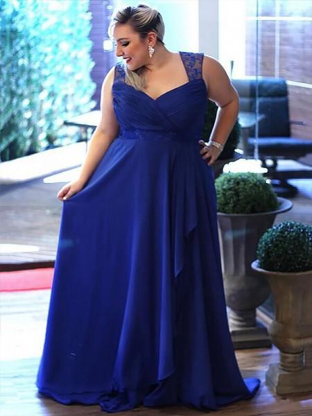 A-Line/Princess Sleeveless V-neck Lace Sweep/Brush Train Chiffon Plus Size Dresses